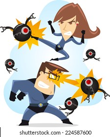Superhero parents fighting together against tech evil robots, with blue costumes and black robots vector illustration.