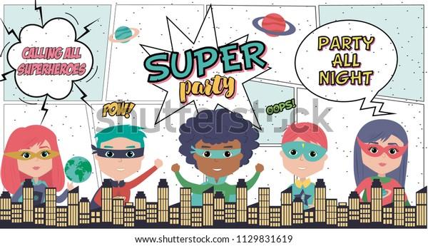 Superhero Party Card Kids City Birthday Stock Image