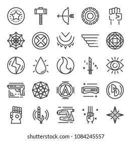 superhero pixel perfect icons, vector design, editable stroke