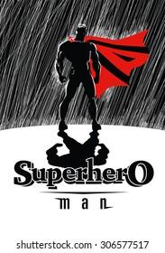 Superhero in rain: Superhero watching over the city. Illustration