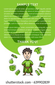 Superhero with recycle sign vector illustration. Recycling creative poster with sample text. Ecological banner template.