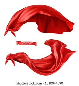 Superhero, red cape. 3d realistic vector objects