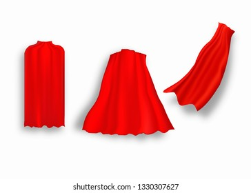 Superhero red cape in different positions, front, side and back view on white background.