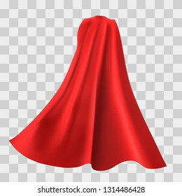 Superhero red cape isolated on checkered background. Vector illustration. Back view. Superpower concept.