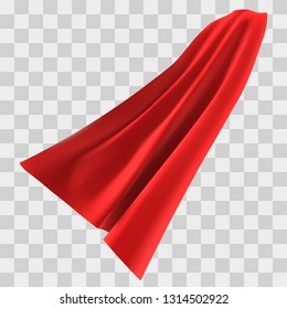 Superhero red cape isolated on checkered background. Vector illustration. Side view. Superpower concept.