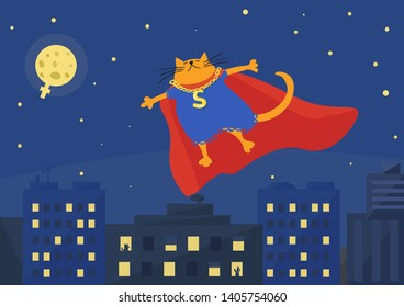 Superhero Red Cat. Women Power Concept. Funny fluffy superheroine in blue dress and red cape flying over a city at night. Vector illustration.