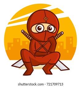 Superhero Red Ninja Kid character Vector Illustration