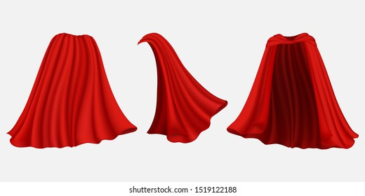 Superhero red silk cape, cloak, mantle, front back and side view, vector illustration isolated on white background. Carnival clothes, masquerade costume etc.