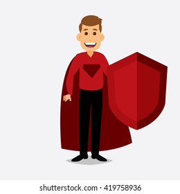Superhero in red suit with shield on hand