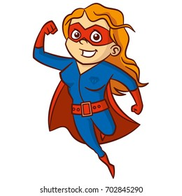 Superhero red-haired woman Cartoon character Isolated Vector illustration