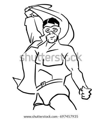 Superhero Removes Shirt Black White Vector Stock Vector Royalty