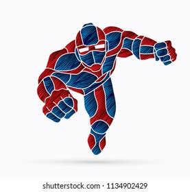 Superhero Robot flying action, Cartoon superhero graphic vector.