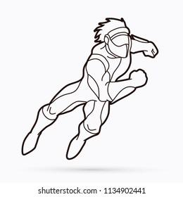 Superhero running action, Cartoon superhero graphic vector.