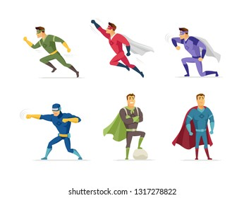 Superhero - set of modern cartoon people characters isolated on white background. Collection with supermen in costumes in different positions, flying, running, standing, fighting. Superpower concept