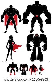Superhero Silhouette: 4 different superhero silhouettes in 2 versions each.