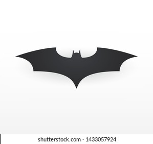 Superhero silhouette template logotype. Bat silhouette, pictogram with shadow. Mockup hero comic. Vector illustration. EPS 10