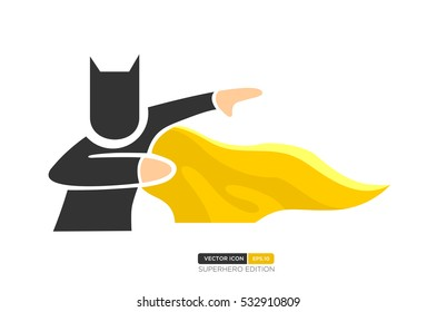 Superhero Silhouette Vector with Bat Character. Act position with wing. Vector Illustration eps.10