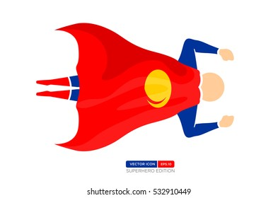 Superhero Silhouette Vector Character in Blue and red Color. Flying fast. Vector Illustration eps.10