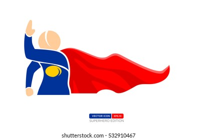 Superhero Silhouette Vector Character in Blue and red Color. Fending off attacks. Vector Illustration eps.10