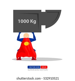 Superhero Silhouette Vector Character in Blue and red Color. Vector of People lifting weights icon. Vector Illustration eps.10