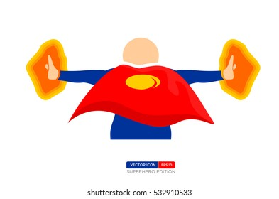Superhero Silhouette Vector Character in Blue and red Color. Release the Power. Vector Illustration eps.10