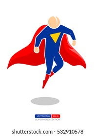 Superhero Silhouette Vector Character in Blue and red Color. Flying position. Vector Illustration eps.10