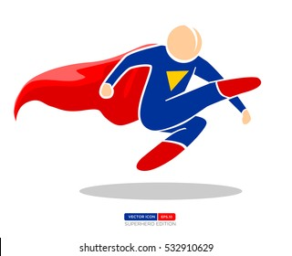 Superhero Silhouette Vector Character in Blue and red Color. Kick the Enemy. Vector Illustration eps.10