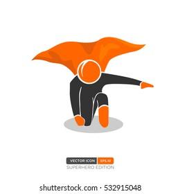 Superhero Silhouette Vector. Vector of People icon. Vector Illustration eps.10