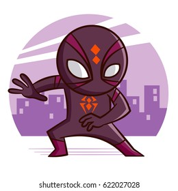 Superhero Spider Sticker Vector Illustration