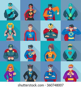 Superhero square shadow icons set with power symbols flat isolated vector illustration