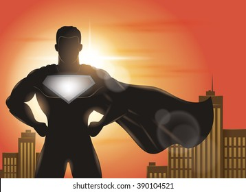 Superhero Standing with Cape Waving in the Wind Silhouette