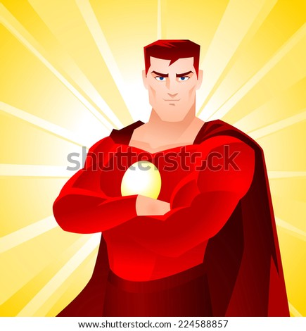 superhero standing proud arms crossed cartoon stock vector royalty