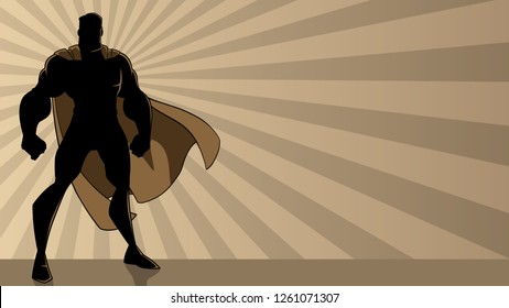 Superhero standing tall on abstract ray light background with copy space.