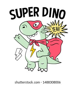 Superhero super dino lizard T-REX in mask. Trendy print design modern vector cartoon illustration for children kid girls. Fashion print design for t-shirt clothes tee coloring badge patch sticker pin.