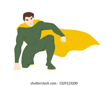 Superhero, superhuman. Attractive man with muscular body wearing bodysuit and cape. Brave and strong fantastic hero or guardian with super power. Vector illustration in flat cartoon style.