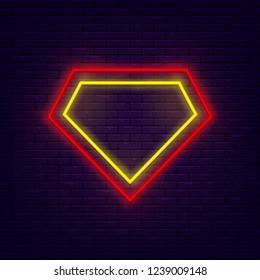 Superhero symbol. Colorful neon frame at brick wall. Red, yellow and orange. Element for presentations, smm, stories, posters or postcards. Vector, isolated, eps 10.