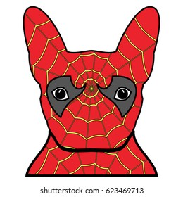 Superhero symbol  as  a French bulldog  character in red and yellow covered with spider web on white background