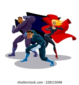 Superhero Team: Team of superheroes. Look around. Stand in readiness. Isolated background.