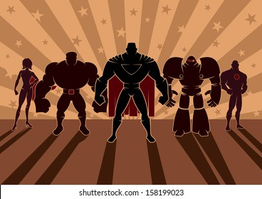 Superhero Team: Team of superheroes. No transparency and gradients used.