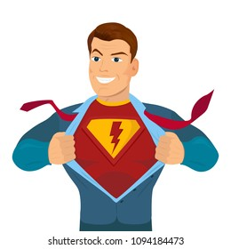 Superhero tearing shirt and wearing costume vector poster illustration on a white background