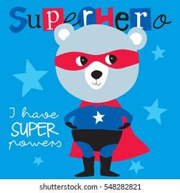 superhero teddy bear animal vector illustration