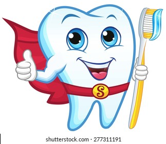 Superhero tooth holding a toothbrush, smiling