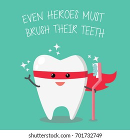 Superhero tooth holding toothbrush. Teeth care and hygiene concept. Happy cute teeth superhero. Vector illustration.