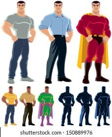 Superhero Transformation: Ordinary man transforms into superhero. No transparency and gradients used.
