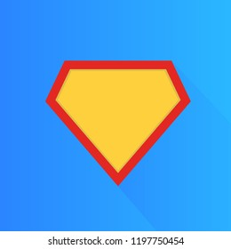 Superhero vector icon, modern and flat logo figure. Superman shield shape isolated on blue background. Superman logo frame.