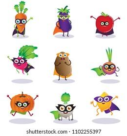 Superhero Vegitables, illustration, characters, Vegan, cartoon, set