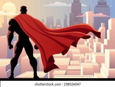Superhero Watch 2: Superhero watching over city. No transparency used. Basic (linear) gradients. A4 proportions.