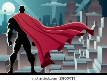 Superhero Watch 3: Superhero watching over city. No transparency used. Basic (linear) gradients. A4 proportions.