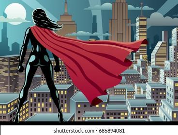 Superhero watching over city at night.