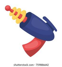 Superhero weapon. Superhero blaster to destroy enemies that shoot lasers.Superhero single icon in cartoon style bitmap,raster symbol stock illustration.